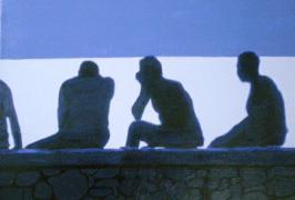 Blick auf`s Meer im Gegenlicht/Acryl auf Leinwand/40x30/2011