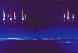 Segelboote im Mondschein/Acryl auf Leinwand/80x40/2010