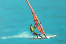 Windsurfer in Fahrt/Acryl auf Leinwand/30x30/2011