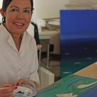 Auch ein Atelier hat die Honorarkonsulin in ihrem Haus. Hier malt sie vor allem Porträts und Landschaften.